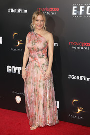 Kelly Preston went for sweet glamour in a one-shoulder floral gown at the New York premiere of 'Gotti.'