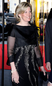 Sophie Countess of Wessex's clamshell clutch was the perfect little accessory for her shimmering black dress.
