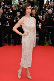 Paz Vega was a stunner at the 'Grace of Monaco' premiere in a pearl-studded white cocktail dress by Elie Saab Couture.