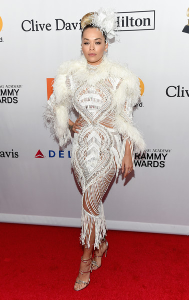 Rita Ora sealed off her flamboyant look with a pair of silver multi-strap sandals by Sergio Rossi.