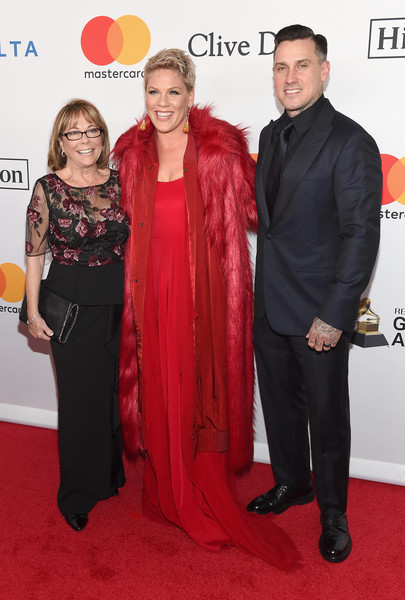 More Pics of Pink Fur Coat (1 of 6) - Pink Lookbook - StyleBistro [jay-z,pink,arrivals,clive davis,carey hart,judith moore,salute to industry icons,grammy,l-r,recording academy pre-grammy gala,red carpet,carpet,red,premiere,flooring,event,dress,fashion design,formal wear]