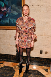 Kate Bosworth added more oomph with a pair of crystal-top velvet boots.