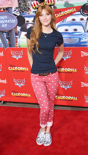 Bella's red polka-dot jeans hit the spot for a day of fun in the sun at Disneyland.