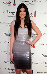 Kylie Jenner wore glossy black polish at the opening of Kardashian Khaos in Las Vegas.