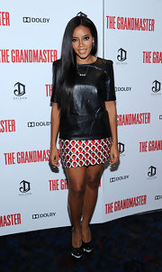 Angela showed us how to rock leather in the summer by pairing this leather tee with a patterned mini skirt.