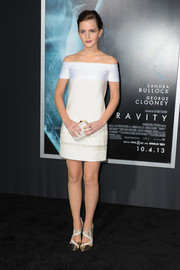 Emma Watson went for minimalist elegance in a little white off-the-shoulder dress by J. Mendel when she attended the 'Gravity' premiere.
