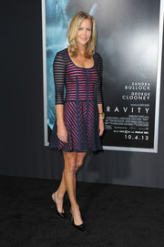 Lara Spencer looked youthful in a striped sheer-overlay dress during the premiere of 'Gravity.'