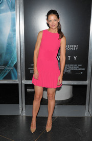 Katie Holmes looked very girly at the 'Gravity' premiere in a sleeveless pink mini dress with a flirty hem.