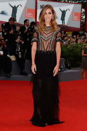 Chiara Ferragni's sheer black gown featured an elegantly beaded bodice and a ruffle skirt for an updated Art Deco-inspired look.