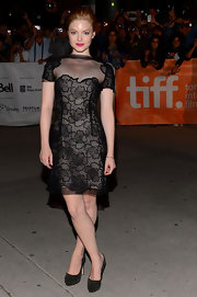 Holliday Grainger looked sexy in a knee-length sheer lace dress at the premiere of 'Great Expectations.'