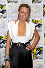 Blake looked stunning in a cleavage-baring, cutout, top with high-waisted silk pants.