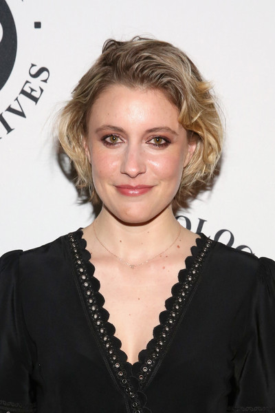 Greta Gerwig Bob [greta gerwig,anthology film archives benefit and auction,the anthology film archives benefit and auction,hair,hairstyle,blond,eyebrow,chin,lip,shoulder,layered hair,long hair,little black dress,new york city]