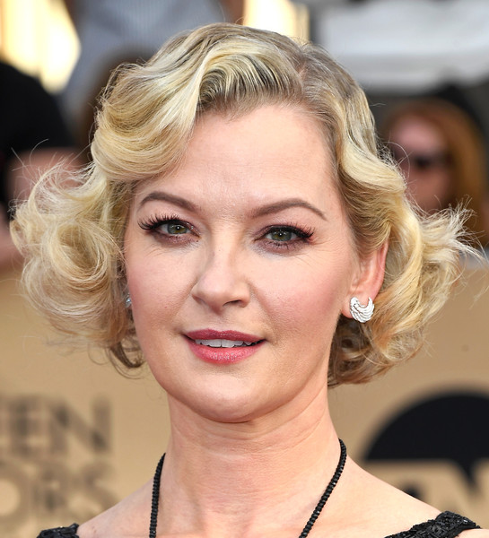 Gretchen Mol Curled Out Bob [hair,face,blond,hairstyle,eyebrow,lip,chin,skin,beauty,eyelash,arrivals,gretchen mol,screen actors guild awards,los angeles,california,the shrine auditorium]