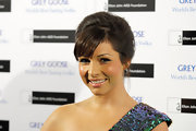 Roxanne Pallett looked so sweet and demure in a loose updo.
