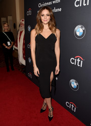 Katharine McPhee attended The Grove Christmas in a sultry LBD with a midi-slit for a sleek look