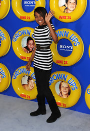 China Anne McClain looked chic wearing a striped tunic which she accessorized with a wide belt at the New York premiere of 'Grown Ups.'