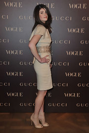 Gemma Arterton attended the Vogue Paris Dinner in nude strappy Inga peep-toe sandals.