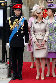 Sophie looked classy in this iridescent skirt suit at the Royal Wedding.