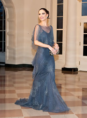 Georgina Chapman wore this slate blue chiffon beaded dress (one of her own designs) to the White House State Dinner.