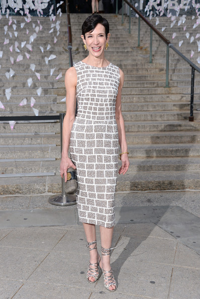 Amy Fine Collins' silver brick-patterned dress looked simply elegant at the Vanity Fair Tribeca Film Festival Party.