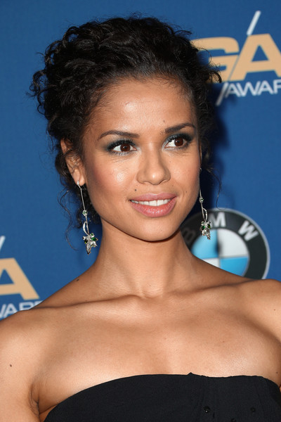 Gugu Mbatha-Raw Dangling Gemstone Earrings [hair,hairstyle,eyebrow,shoulder,beauty,black hair,chin,electric blue,long hair,smile,arrivals,gugu mbatha-raw,beverly hills,california,the beverly hilton hotel,directors guild of america awards]