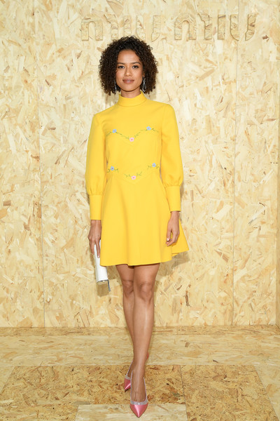 Gugu Mbatha-Raw Embroidered Dress [miu miu : outside arrivals,fashion model,clothing,yellow,fashion,dress,fashion show,footwear,shoulder,photo shoot,fashion design,summer 2020,gugu mbatha-raw,miu miu womenswear spring,part,paris,france,paris fashion week,show]
