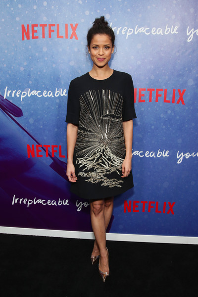 Gugu Mbatha-Raw Evening Pumps [netflix film ``irreplaceable you,special screening of the netflix film ``irreplaceable you,clothing,fashion,dress,premiere,cocktail dress,carpet,event,fashion design,electric blue,footwear,gugu mbatha-raw,new york city,metrograph theater,the metrograph,screening]