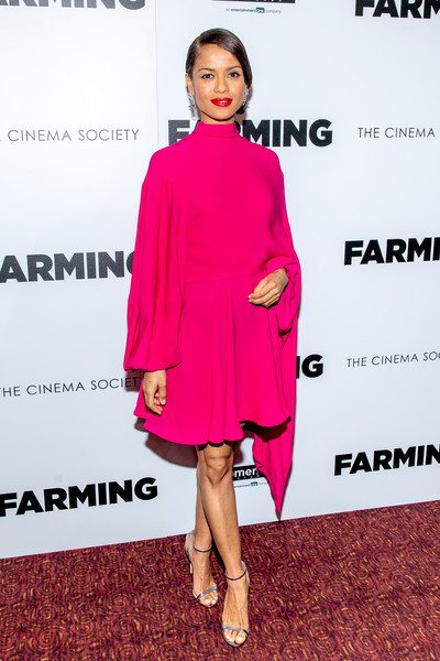 Gugu Mbatha-Raw Evening Sandals [clothing,pink,fashion model,dress,cocktail dress,magenta,shoulder,fashion,footwear,joint,gugu mbatha-raw,new york screening at village east cinema,farming,new york,screening]