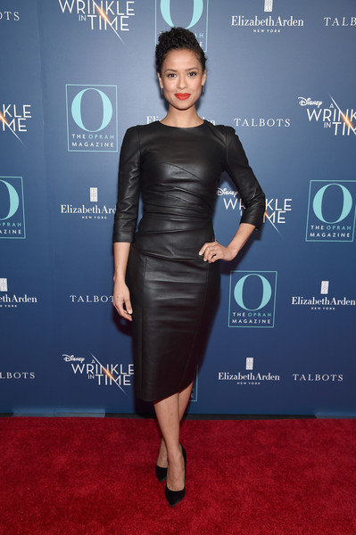 Gugu Mbatha-Raw Pumps [o the oprah magazine hosts special nyc screening of ``a wrinkle in time,a wrinkle in time,dress,clothing,cocktail dress,little black dress,shoulder,carpet,hairstyle,cobalt blue,fashion,joint,gugu mbatha-raw,nyc,walter reade theater,screening]