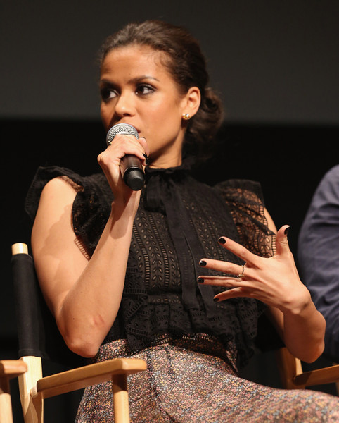 Gugu Mbatha-Raw Dark Nail Polish [performance,singing,singer,event,performing arts,music artist,music,talent show,academy of motion picture arts and sciences hosts an official academy screening of concussion,the academy of motion picture arts and sciences hosts an official academy screening of concussion,new york city,gugu mbatha-raw]