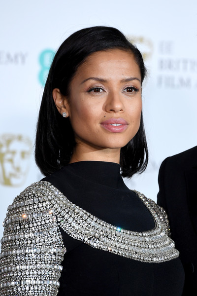 Gugu Mbatha-Raw Bob [hair,hairstyle,beauty,eyebrow,lip,black hair,fashion,premiere,neck,dress,gugu mbatha-raw,poses,ee,room,press room,england,london,royal albert hall,british academy film awards]