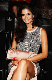 Shermine Shahrivar opted for a beautifully tailored satin clutch to match her Mercedez-Benz Fashion Week look.