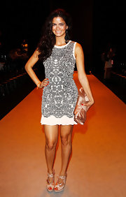 Shermine Shahrivar stepped out at the Guido Maria Kretschmer show wearing a chic short print dress.