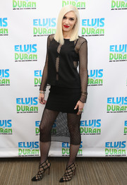 Gwen Stefani visited 'The Elvis Duran Z100 Morning Show' wearing an edgy-sexy Mason by Michelle Mason net-panel top.