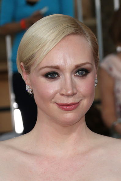 Gwendoline Christie Short Side Part [hair,face,eyebrow,hairstyle,blond,chin,lip,forehead,beauty,skin,arrivals,gwendoline christie,screen actors guild awards,los angeles,california,the shrine auditorium]