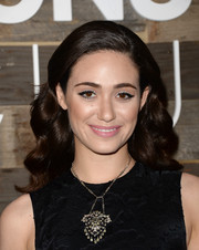 Emmy Rossum went for a soft beauty look with pale pink lipstick.