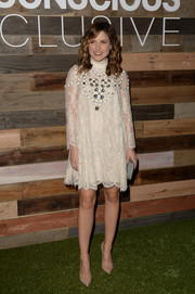 Sophia Bush went for old-school elegance in a high-neck A-line lace dress during the H&M Conscious Collection dinner.
