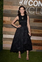 Emmy Rossum attended the H&M Conscious Collection dinner looking classic and ladylike in a tea-length floral-patterned LBD from the label.