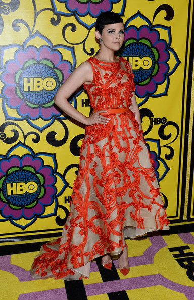 Ginnifer Goodwin matched her ethereal nude and red gown with on-trend red cap-toe and clear pumps.