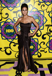 Emmanuelle wore this strapless chocolate dress to the Emmy afterparty.