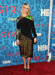 Claire Danes looked artsy in this angular print dress at the premiere of 'Girls' in NYC.
