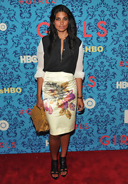 Rachel Roy paired her floral pencil skirt with a black-and-white blouse for this eclectic ensemble at the premiere of 'Girls' in NYC.