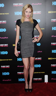 Heidi Mount chose a black and gray frock for her look at the 'Pussy Riot: A Punk Prayer' screening in NYC.