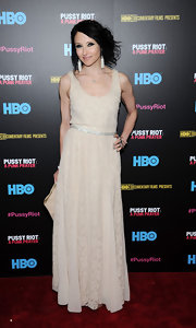 Stacey Bendet opted for a soft and romantic look on the red carpet when she wore this lace gown in a nude color.