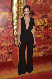 Katharine McPhee looked va-va-voom in a black Wai Ming jumpsuit with a down-to-the-navel neckline during the HBO Emmy after-party.