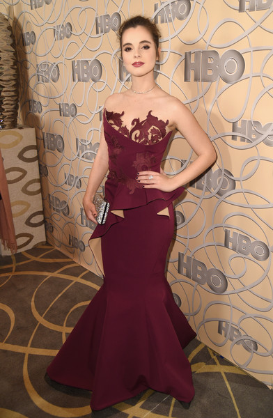 Vanessa Marano channeled her inner beauty pageant queen in a wine-colored peplum mermaid gown by Fouad Sarkis Couture at the HBO Golden Globes after-party.