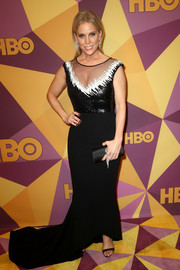 Cheryl Hines donned an Edition by Georges Chakra fishtail gown with a black-and-white sequined bodice for the HBO Golden Globes after-party.