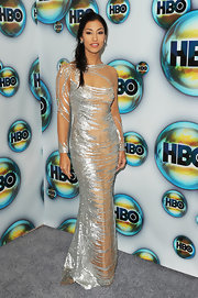 Janina Gavankar wore a nude and silver evening dress for the Golden Globe after-party.