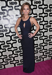 Giada De Laurentiis stunned at the HBO's Post 2013 Golden Globe Awards Party in a navy blue keyhole halter evening dress.