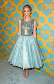 Greer Grammer was a fairy princess at the HBO Golden Globes party in a pastel-blue dress with an intricately beaded bodice and a '50s-style full skirt.